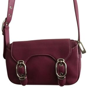 COLE HAAN Small Magenta Leather Crossbody Bag